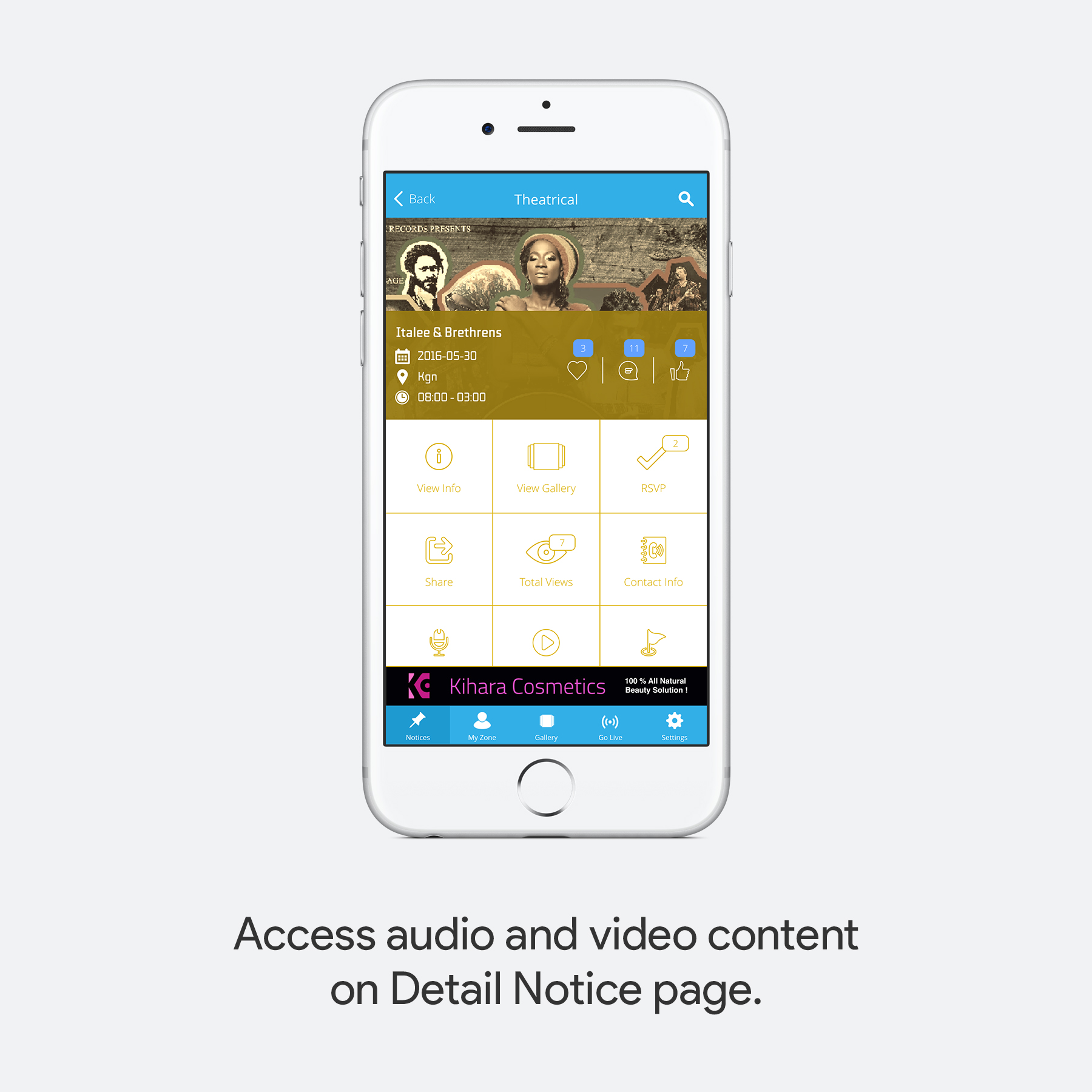 Access audio and video content on Digital Notice page.
