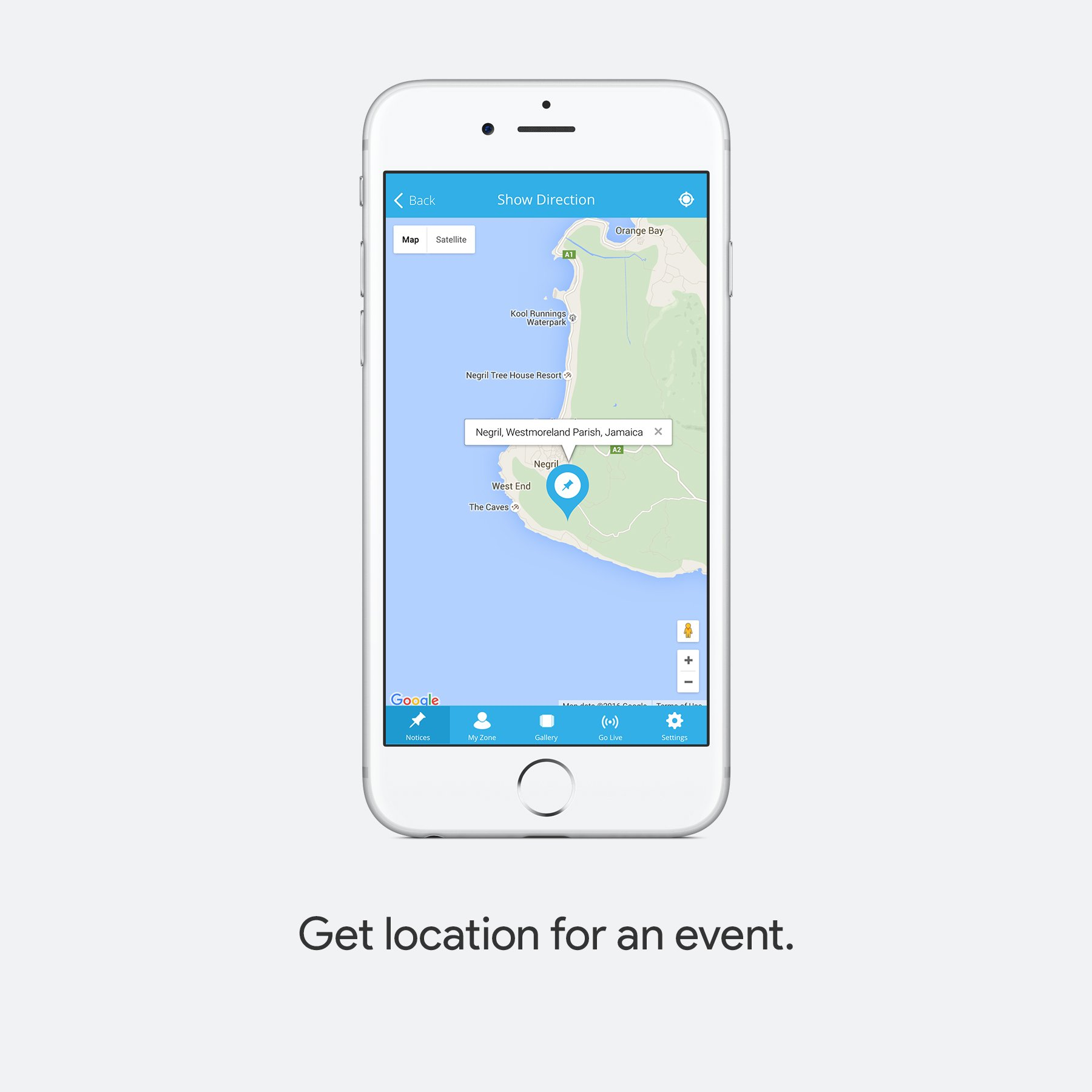 Get location for an event.