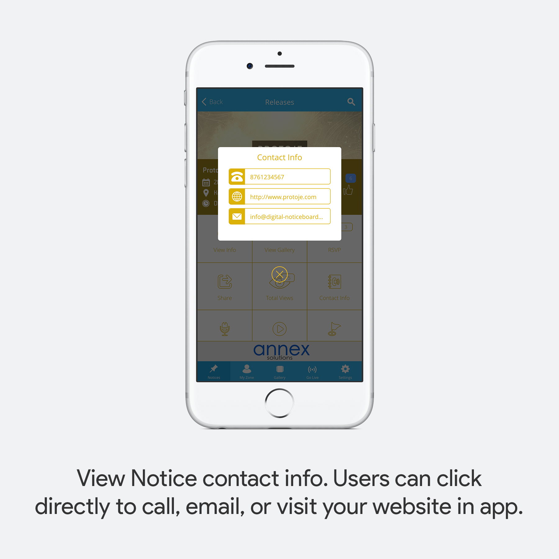 View Notice contact info. Users can click directly to call, email, or visit your website in app.